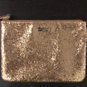 New Kate Spade Gold Gia Glitter Clutch